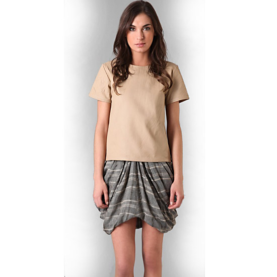 Rodarte for Opening Ceremony Leather T-Shirt, $1,59 and Draped Skirt, $448