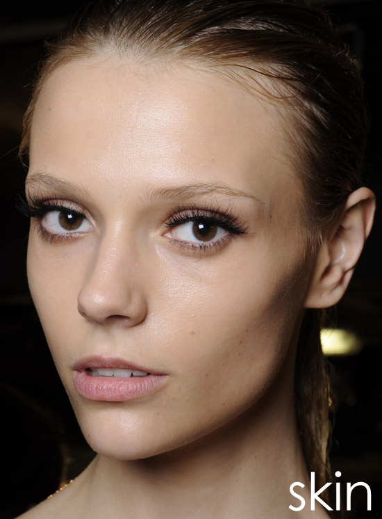 Honey Dew It's all about breathe-able, dewy skin. Get flawless (but stay natural) with tinted moisturizers and translucent powders. Mineral formulas are ideal for a barely-there finish and subtle sheen.    Lanvin Spring 2011, Photo by Greg Kessler