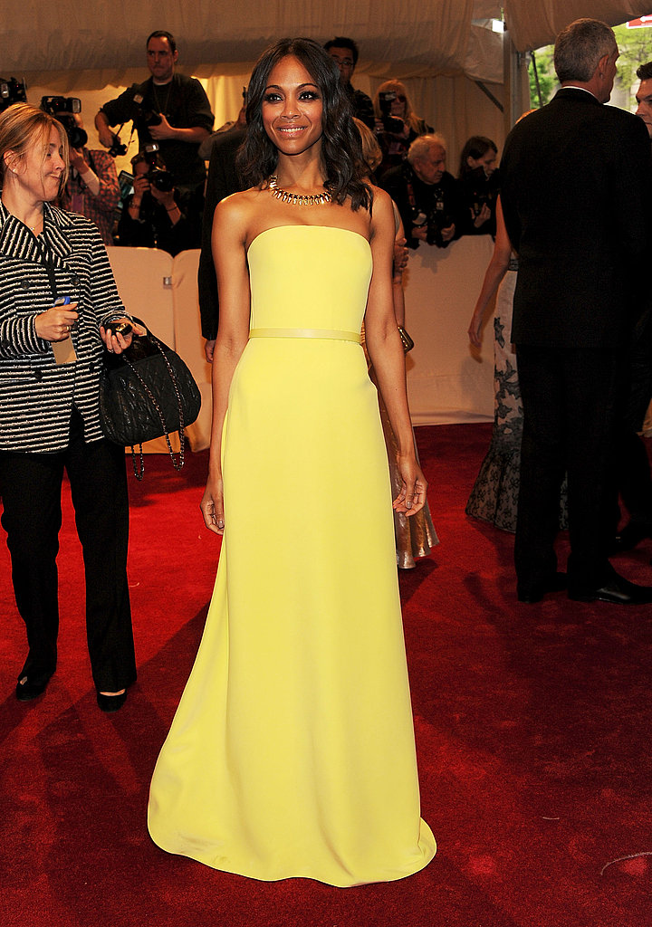 Zoe shined in a canary yellow Calvin Klein gown at the Met Gala in 2011.
