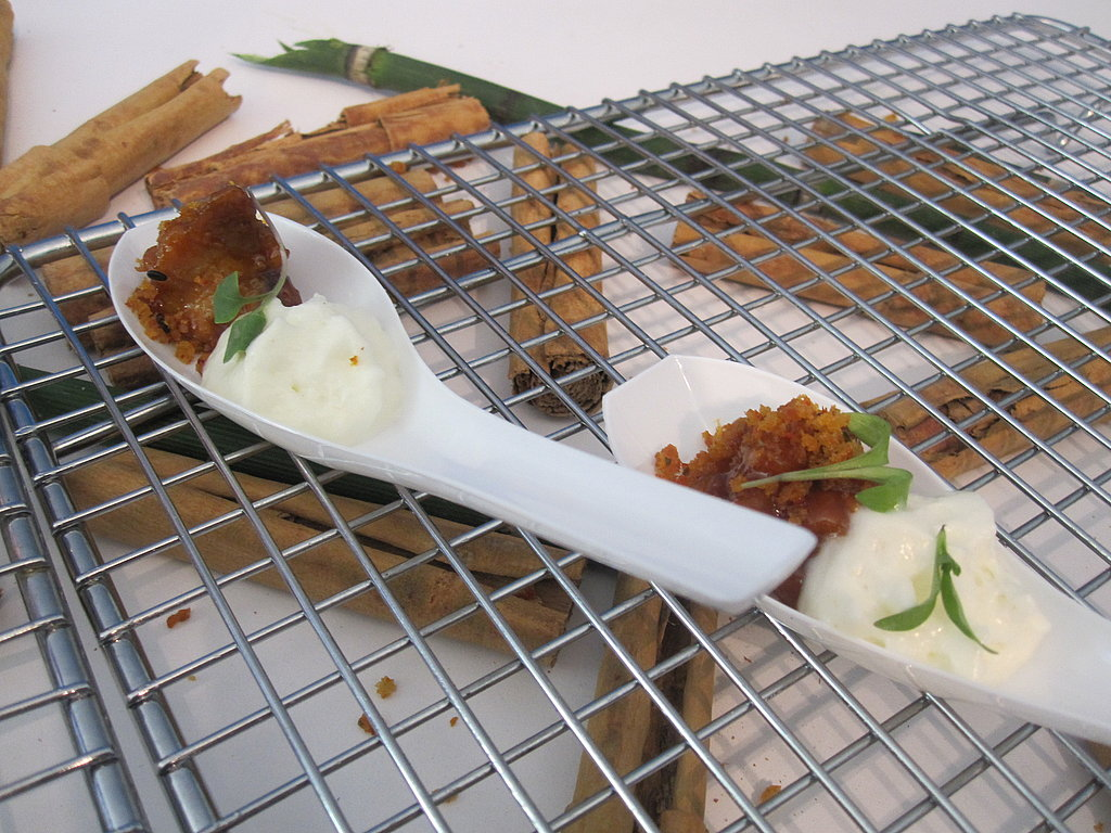 Another great display: a cooking rack on top of cinnamon sticks. Angelo Sosa made this scrumptious bite of sweetbreads.
