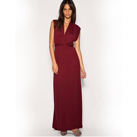 >> Add drama to slinky merlot with a bit of leopard print. French Connection Empire Line Maxi Dress , $52 Looks chic with: