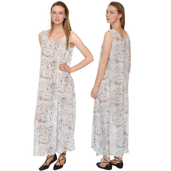 >> Play up the artistic print on this flowing chiffon dress with pop-art accessories. A skinny belt reigns in the roomy silhouette. American Apparel Printed Chiffon Maxi Dress, $70 Looks chic with: