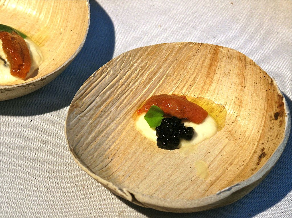 Sea urchin and straciatella