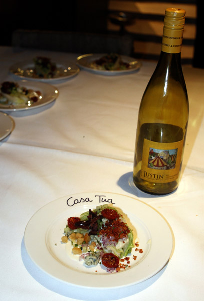 "Fiji recently added a winery, Paso Roble's Justin, to their portfolio, so all of the wines poured at the dinner were from the label. ""The Wedge"" was paired with a Justin 2010 Chardonnay. It was a delightful pairing!"