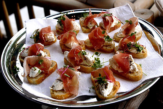 While guests mingled, waiters walked around with an assortment of passed canapés. This is a plate of speck ham and fresh ricotta cheese crostini. The ricotta was so thick and creamy that it had to be homemade!