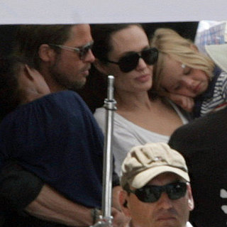 Angelina Jolie on Brad Pitt's World War Z Set in Malta With Shiloh and Zahara