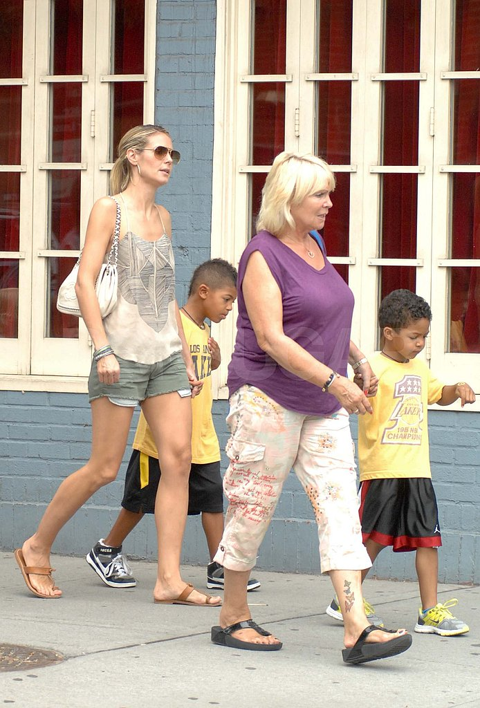 Heidi Klum had help from her mom Erna with Henry and Johan Samuel.
