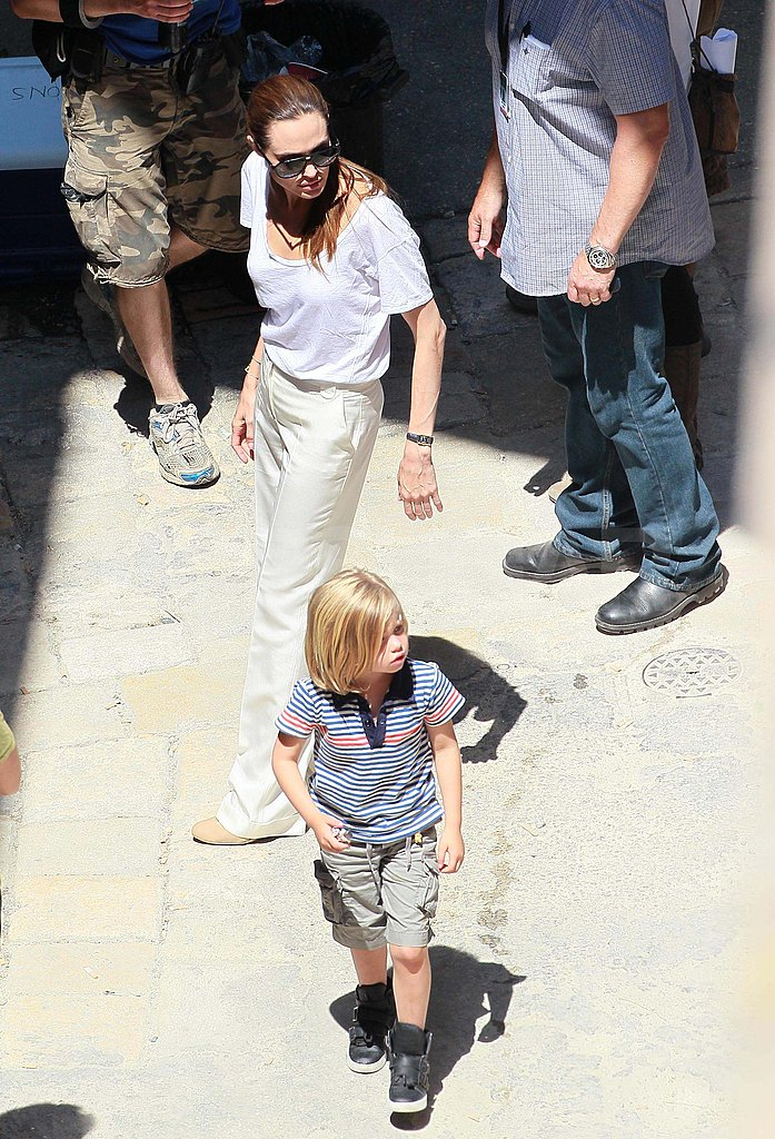 The Jolie-Pitt family checked out the World War Z set.