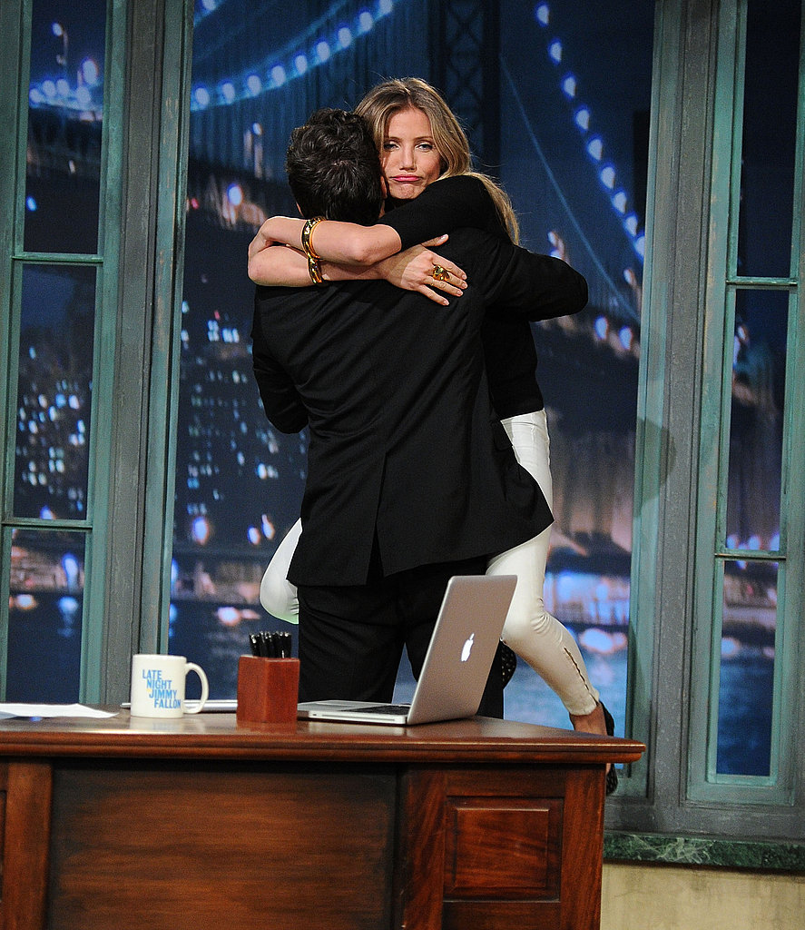 Cameron Diaz gave Jimmy Fallon a big hug as she stepped out on the stage.