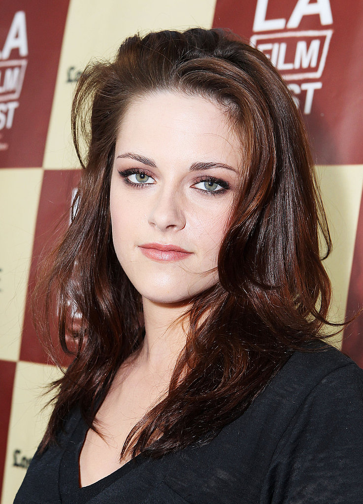 Kristen Stewart wore a smoky eye and a black shirt to the LA Film Festival.