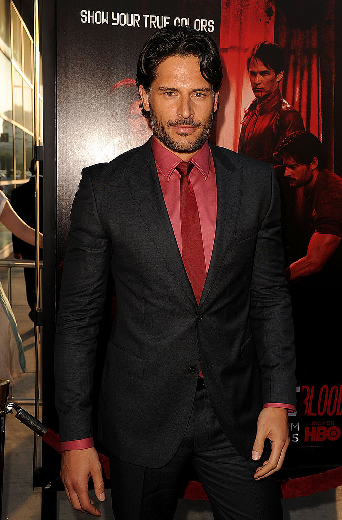 Joe Manganiello complemented the red carpet in a red shirt and tie at the True Blood premiere.