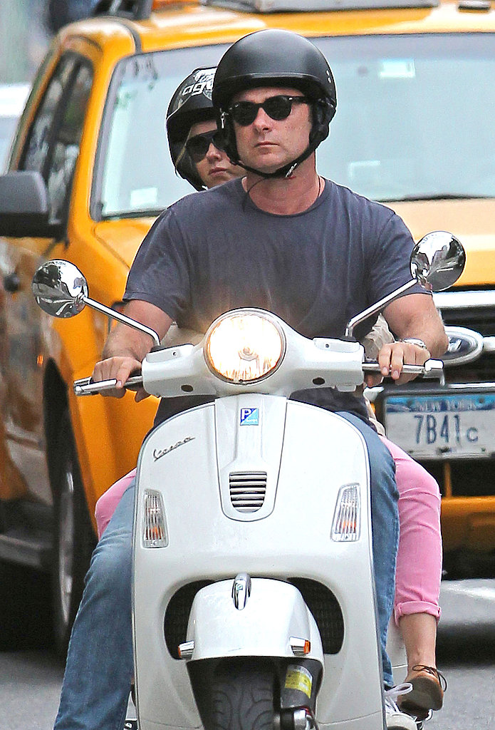 Naomi Watts and Liev Schreiber riding a Vespa.