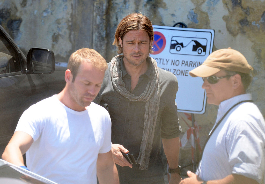 Brad Pitt looked hot on the set of World War Z.