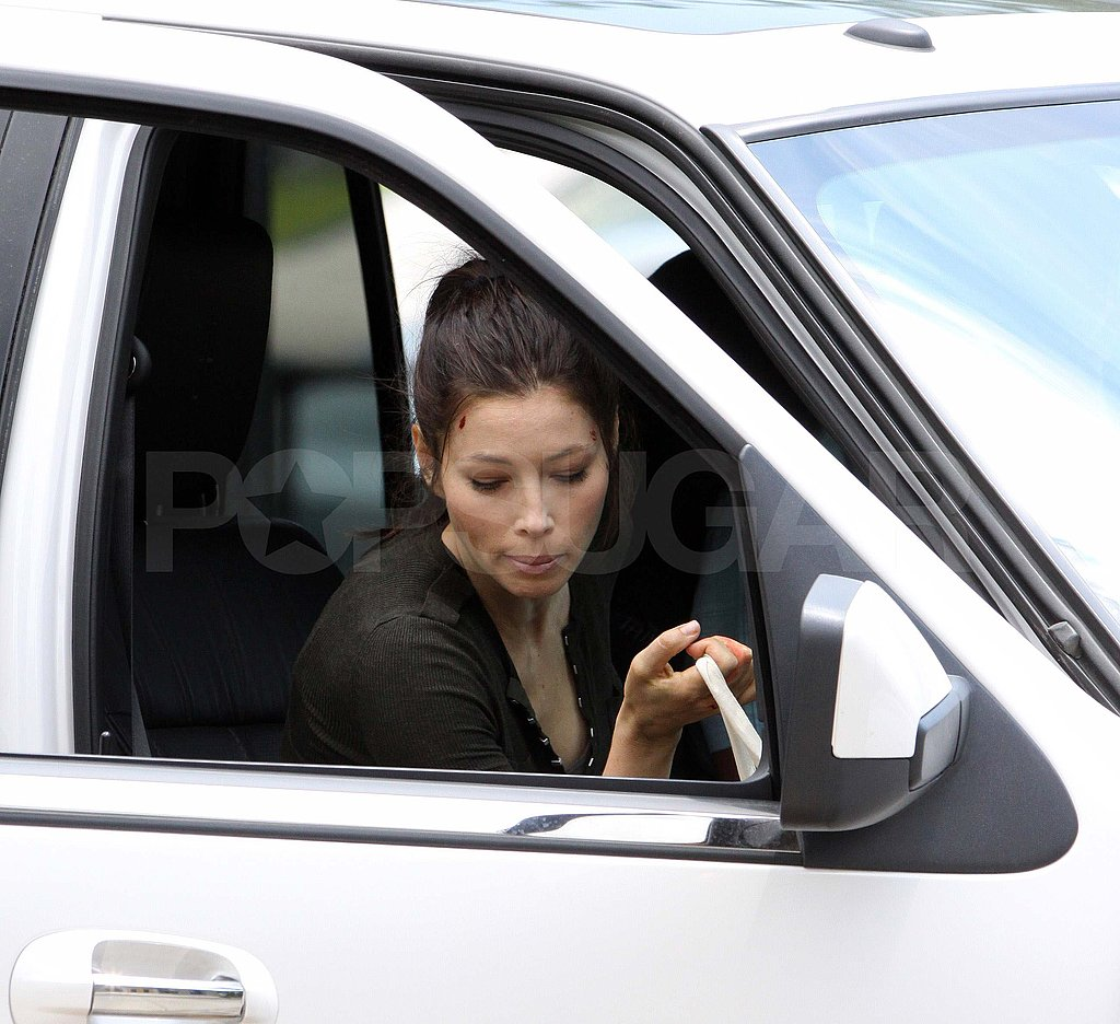 Jessica Biel showed off her darker hair on the set of Total Recall.