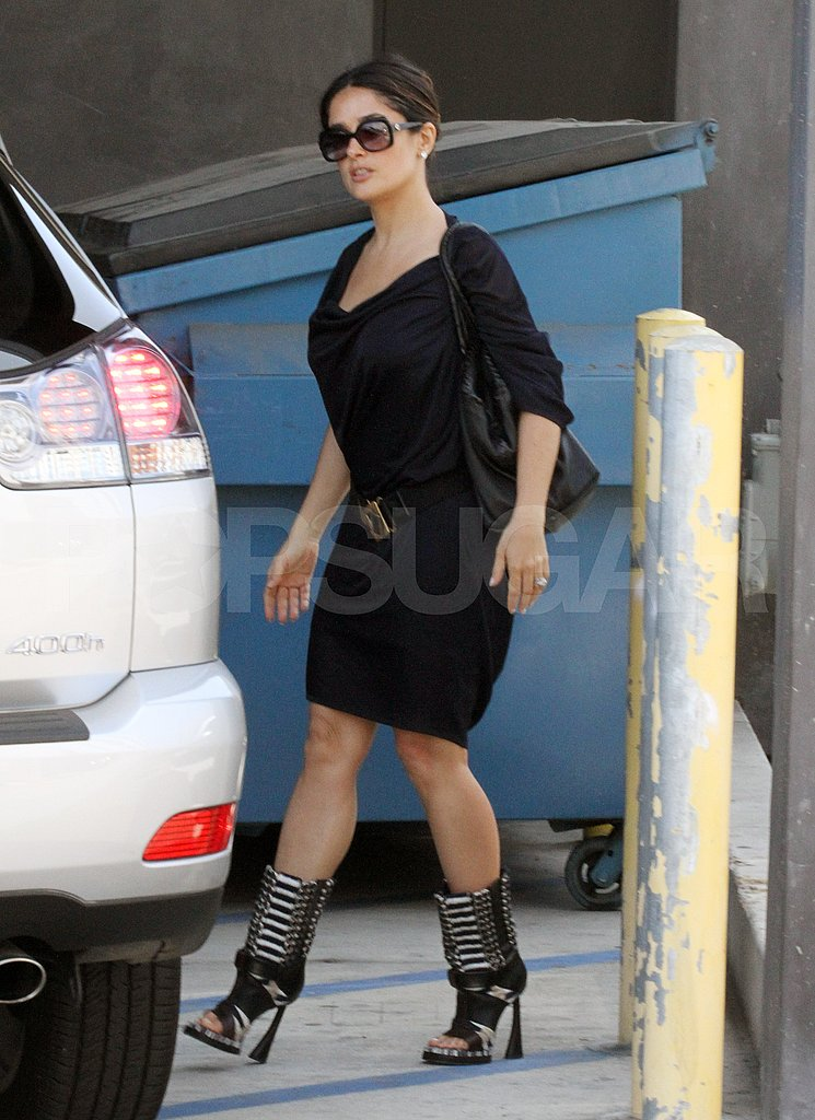 Salma Hayek in a black dress in LA.