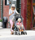 Naomi Watts in pink pants with son Sasha Schreiber.