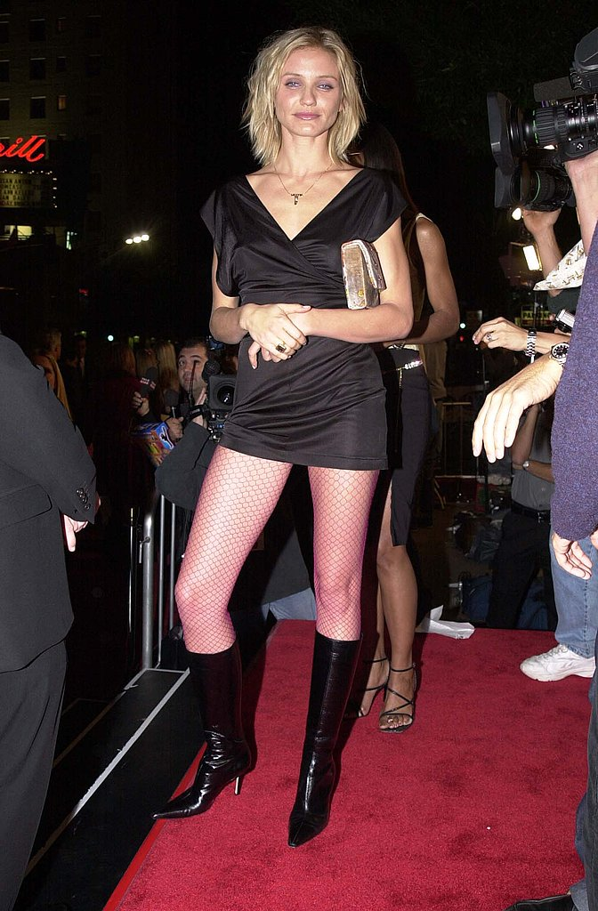 Working a high hemline and knee-high boots for the Charlie's Angels premiere in 2000.