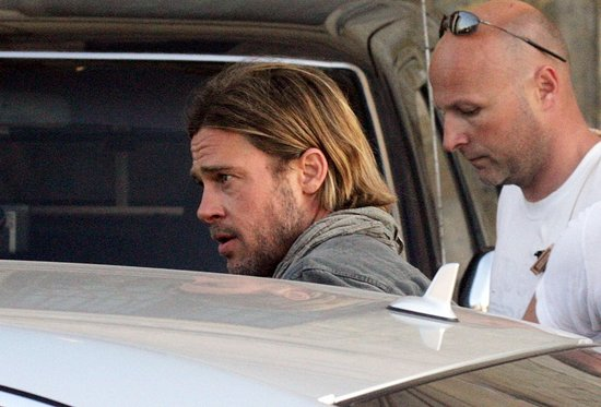 Brad Pitt got a ride from the set of World War Z in Malta.