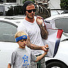 David Beckham and Romeo Beckham Shopping at Fred Segal in LA