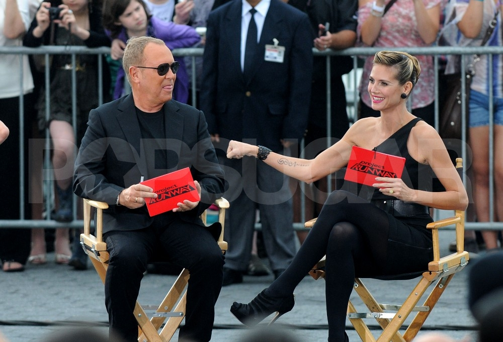 Heidi Klum joked around with Michael Kors on the set.