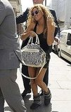 Beyoncé Knowles carried a wild bag as she made her way to the helicopter.