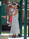Halle Berry helped Nahla swing from the equipment.