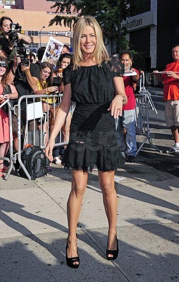 Jennifer Aniston Shows a Little Leg But Hides Her New Tattoo For The Daily Show