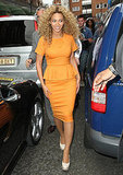 Beyoncé Knowles flashed a smile at fans in London.