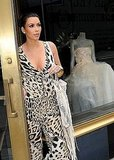 Kim Kardashian stopped by to check out the dresses at Vera Wang's NYC boutique.