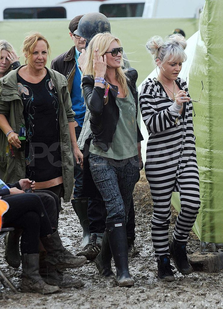 Kate Moss was spotted at Glastonbury.