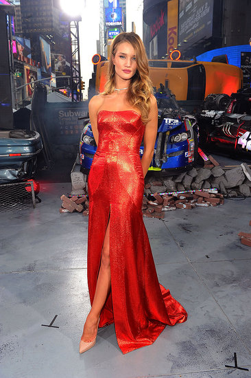 Rosie Huntington-Whiteley sparkled in a red gown at the NYC premiere of Transformers: Dark of the Moon.