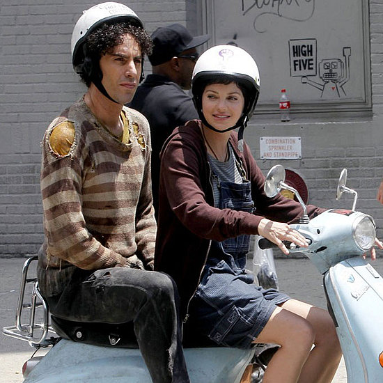 Anna Faris Debuts a Brunette Pixie Cut and Scoots Along With Sacha Baron Cohen on The Dictator Set