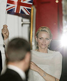 Charlene Wittstock leaves a prewedding gala on the eve of Prince William and Kate Middleton's wedding.