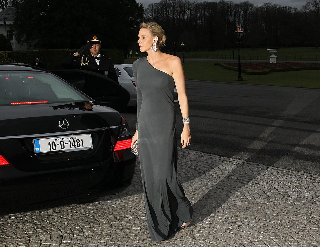 Prince Albert of Monaco's fiancée, South African swimmer Charlene Wittstock, arrives for an official dinner at the presidential palace in Dublin during a state visit.