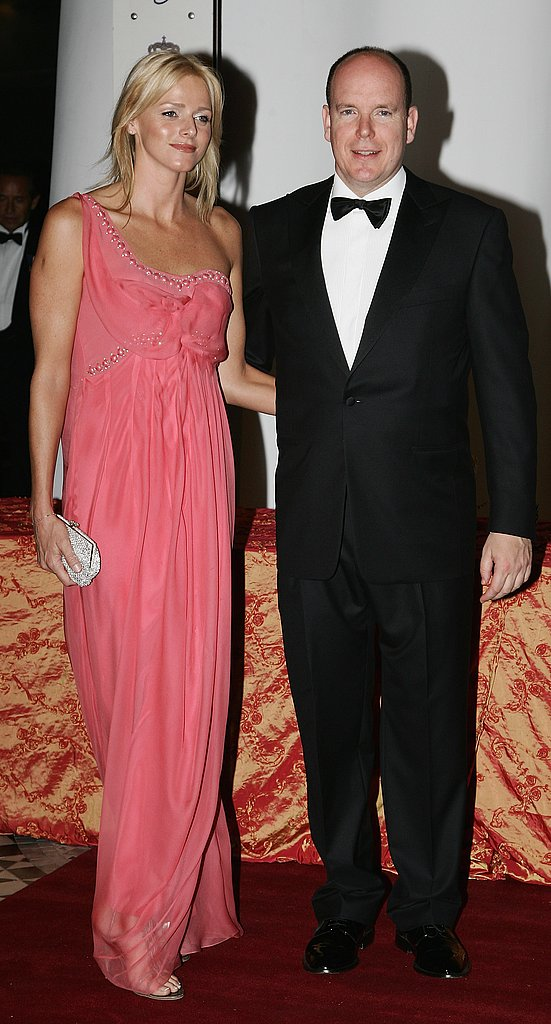 Looking fresh-faced, Charlene Wittstock and Prince Albert attend the gala dinner of the Monaco Formula One Grand Prix in May 2007.