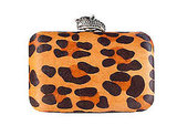 Orlina Clutch in Leopard Pony, $255
