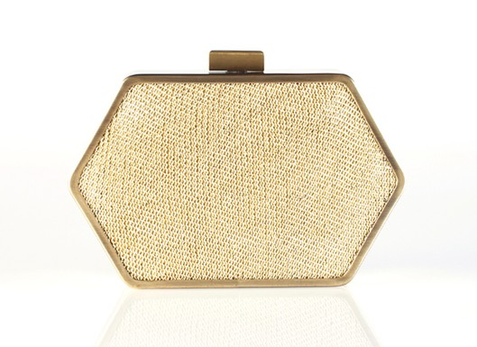 Zola Clutch in Gold Knit, $168