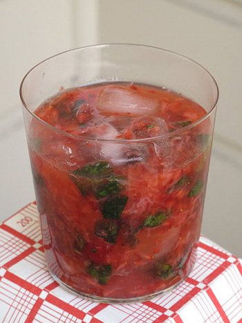I love the fresh ginger and mint in this strawberry-ginger caipirosca.You've got to taste it to believe.