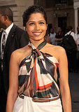 Freida Pinto in a halter top at Salvatore Ferragmo's resort show in NYC.