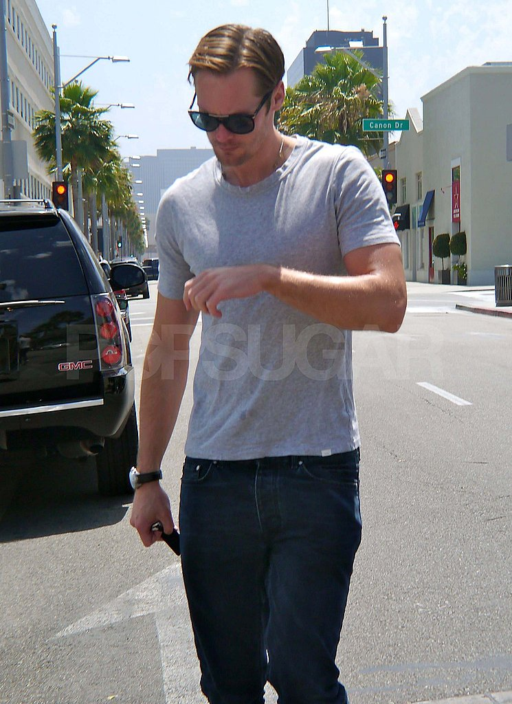 Alexander Skarsgard wore a gray shirt and sunglasses to lunch in LA.