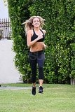 Kristin Cavallari jogged in a sports bra in Chicago.