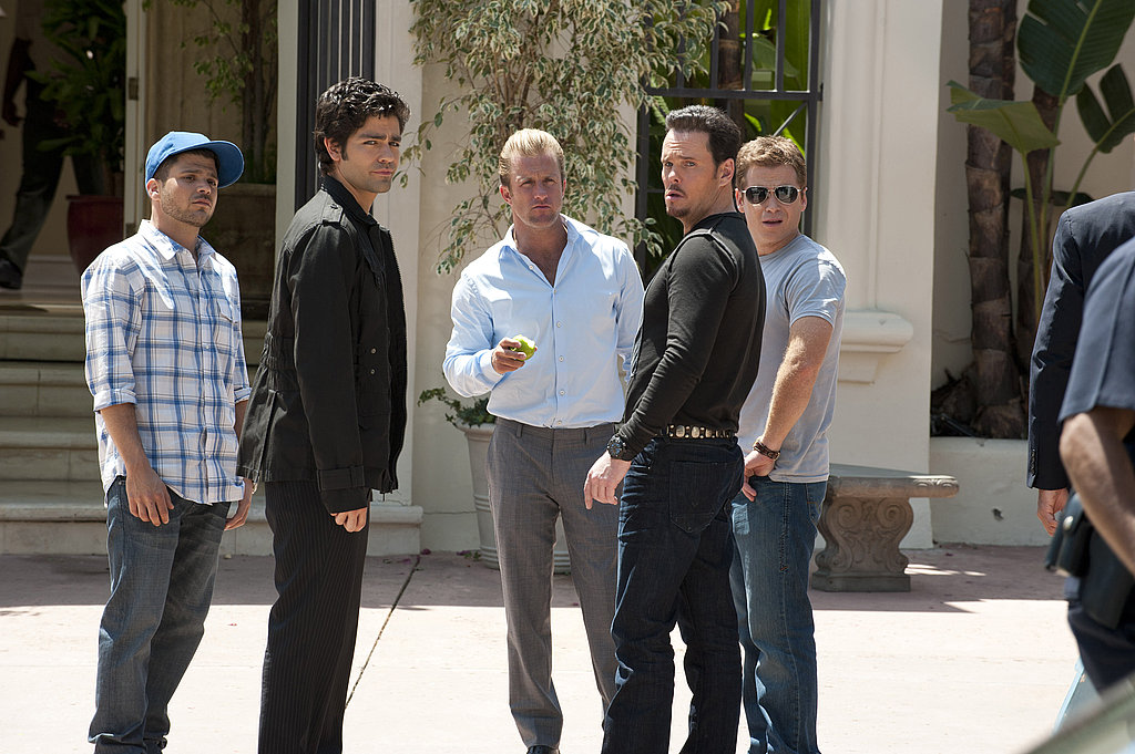 Jerry Ferrara as Turtle, Adrian Grenier as Vincent Chase, Scott Caan as Scott Lavin, Kevin Dillon as Johnny Drama, and Kevin Connolly as Eric Murphy, Entourage season eight.