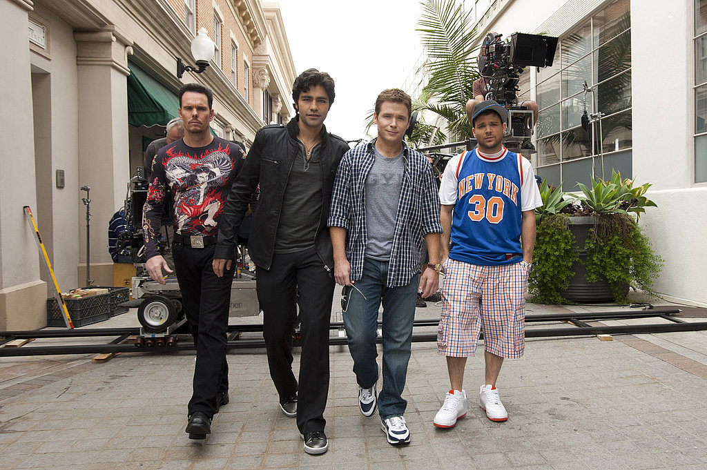 Kevin Dillon as Johnny Drama, Adrian Grenier as Vincent Chase, Kevin Connolly as Eric Murphy, and Jerry Ferrara as Turtle, Entourage season eight.