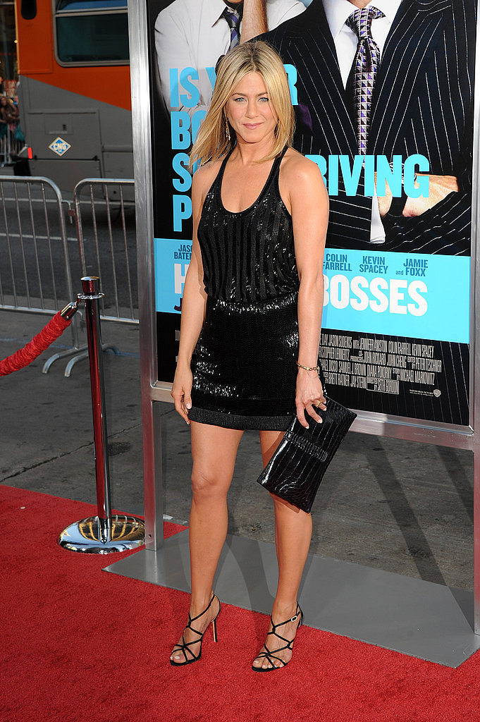 Jennifer Aniston showed off her legs in a short LBD.