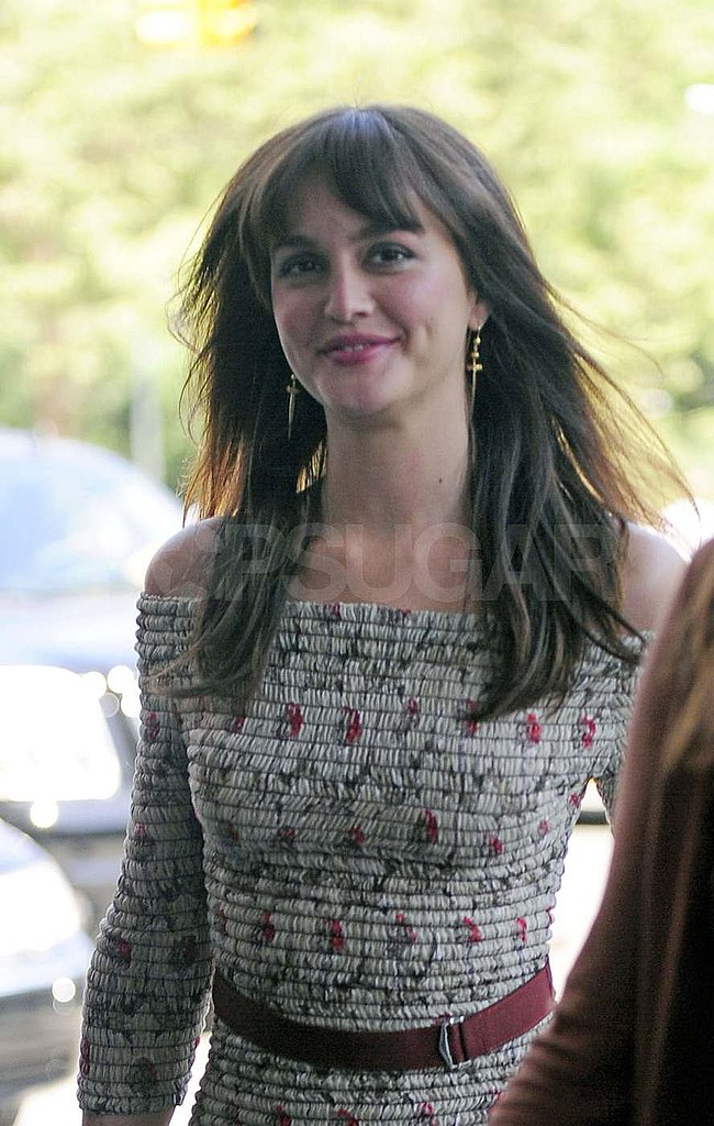 Leighton Meester smiled on her way into the Monte Carlo press junket in NYC.