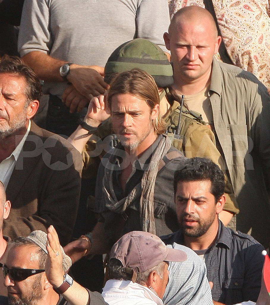Brad Pitt Spends a Hot Day on Set Surrounded by Extras