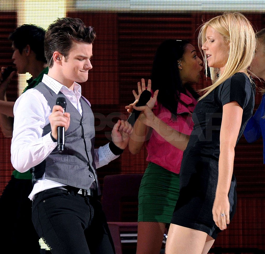Gwyneth Paltrow and Chris Colfer rocked out on stage.