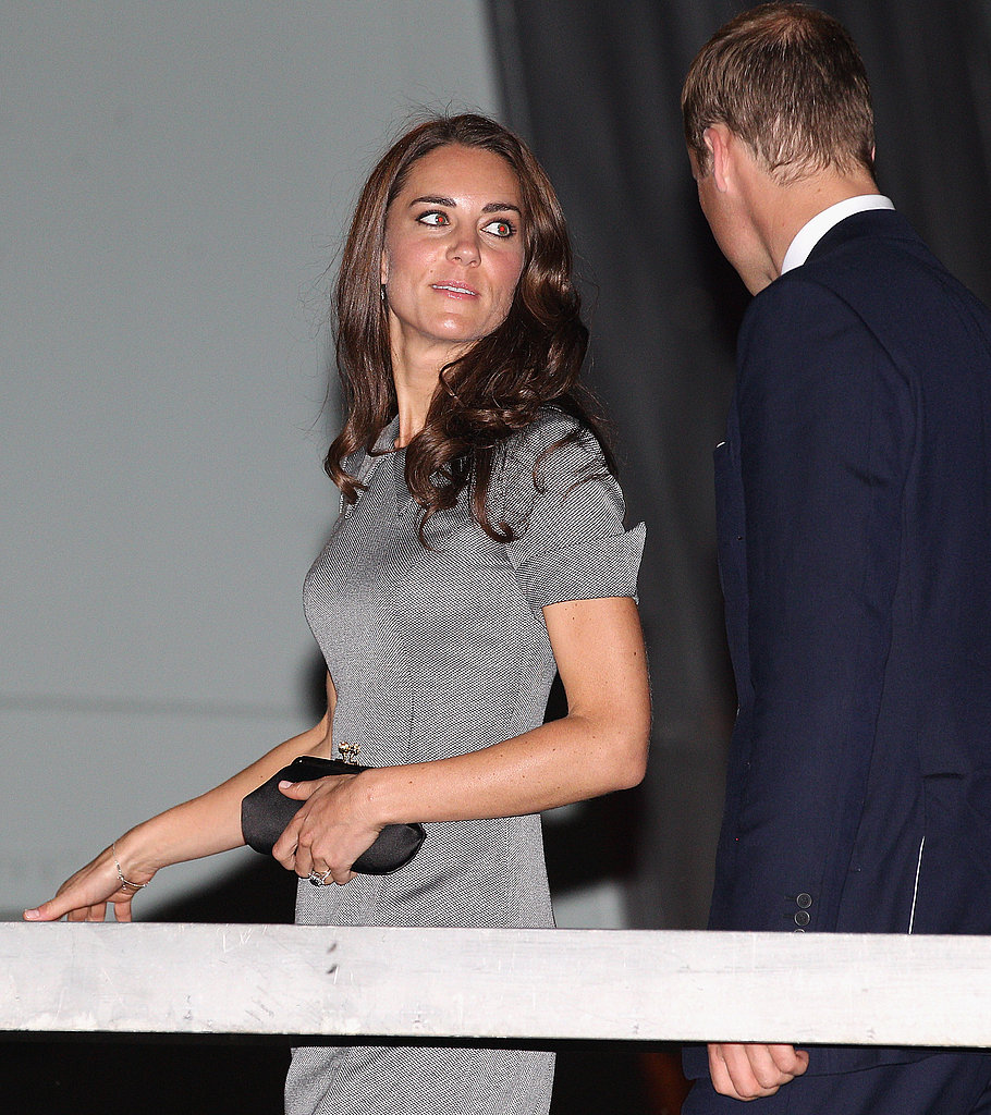 The duke and duchess of Cambridge arrive on board HMCS Montreal on Friday night in Montreal.