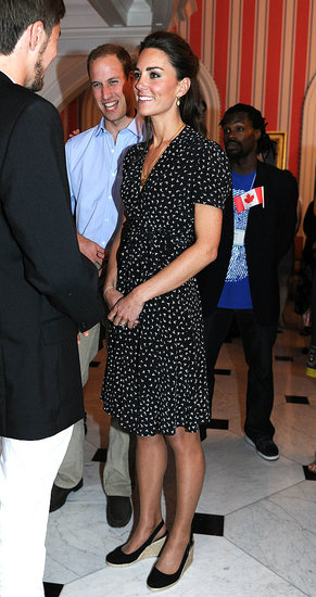 June 30th, 2011 At a youth reception at the Governor's residence in Ottawa, Canada.   Kate wears a bird-print dress by London-label Issa and LK Bennet wedge-espadrille slingbacks.