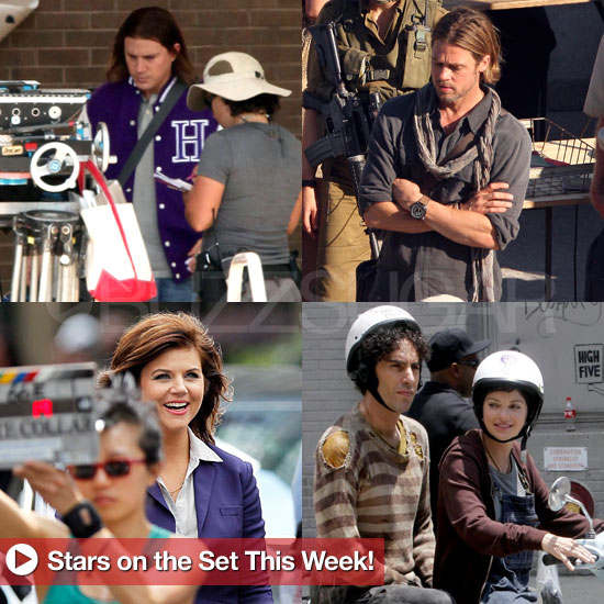 Brad Pitt, Sacha Baron Cohen, Tiffani Thiessen, and More Stars on Set This Week!